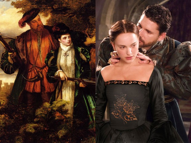'Henry VIII and Anne Boleyn deer shooting in Windsor forest', de de William Powell Firth, e Natalie Portman e Eric Bana em 'A outra' (Foto: William Powell Frith/Domínio público/Divulgação)