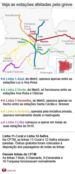 Mapa da Greve no Metrô (Foto: Arte/G1)