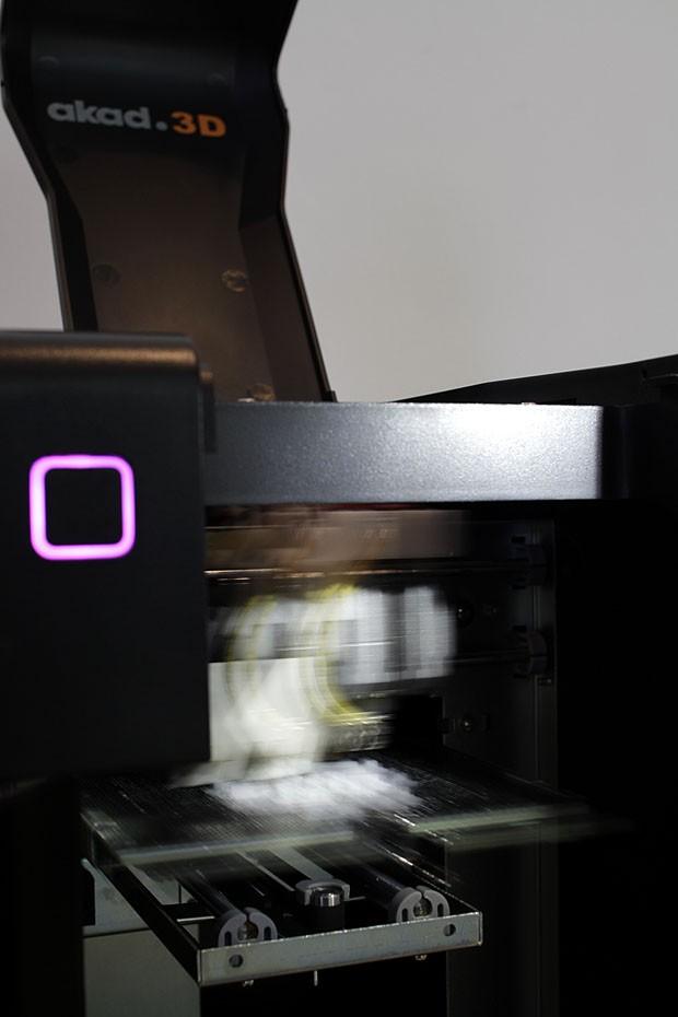 Impressora transformando uma história de amor e arte (Foto: Gabriel Arantes)