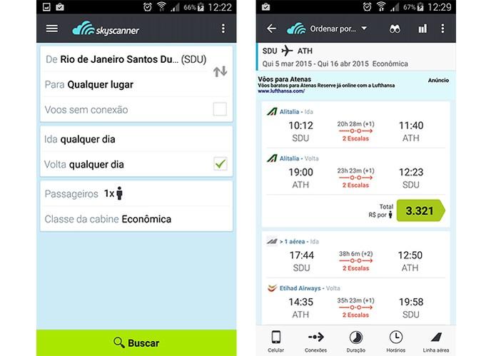 App SkyScanner é gratuito e pesquisa por preços de passagens aéreas em diversas companhias (Foto: Reprodução/Barbara Mannara)
