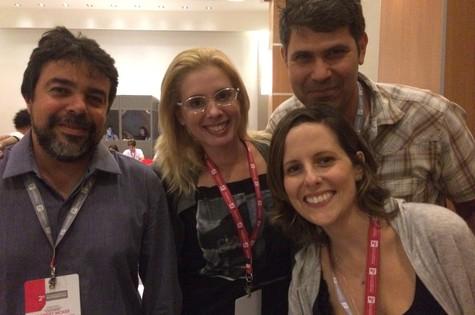Cristian Machado (do Multishow), Daniele Valente, Cacau Hygino e Tati Bernardi (Foto: Divulgação)