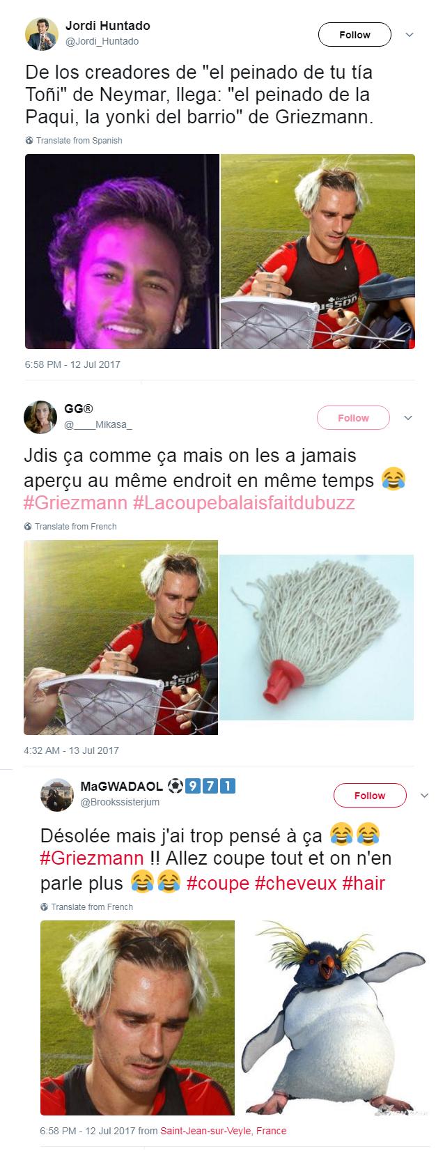 Zoeiras cabelo de Griezmann