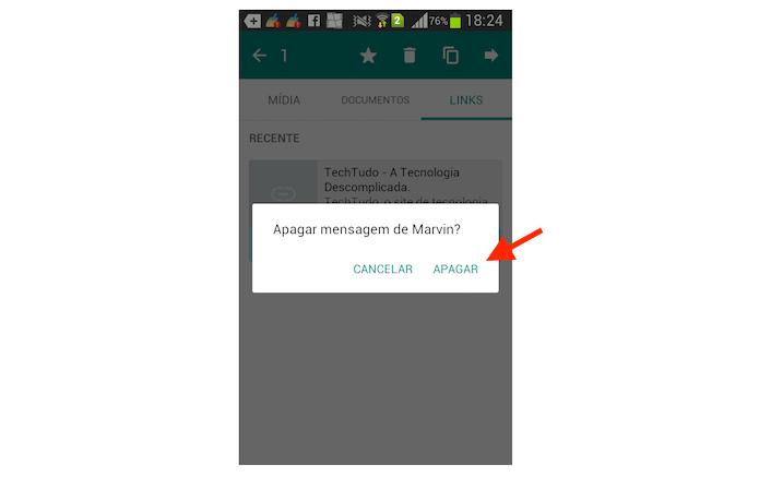Deletando links recebidos no WhatsApp para Android (Foto: Reprodução/Marvin Costa)