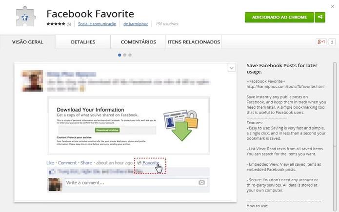 Extensão Facebook Favorite na Chrome Store (Foto: Reprodução/ Marcela Vaz)