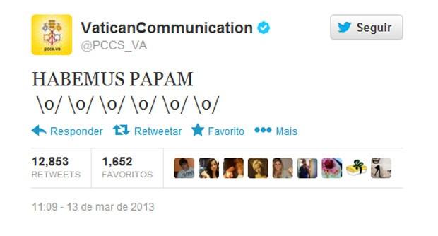 Comunicação do Vaticano usa emoticons no anúncio do Papa Francisco (Foto: Reprodução)