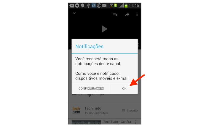 Confirmando que deseja receber notificações para novos vídeos do canal do YouTube (Foto: Reprodução/Marvin Costa)