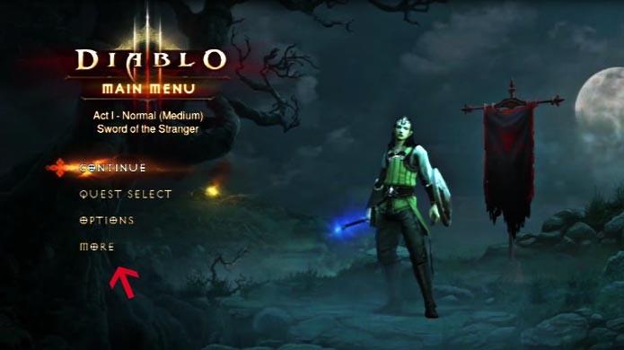 Clique em More para exportar o seu save de Diablo 3 (Foto: Reprodução/Youtube)