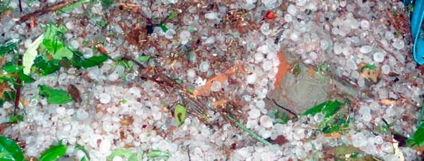 Cidade foi atingida por cinco rajadas de granizo (Foto: Emerson Bernardi/Prefeitura de Santo Cristo)