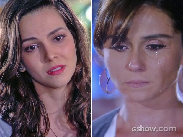 """Marina """"termina"""" com Clara e sofre junto com a dona de casa (Foto: Em Família/ TV Globo)"""