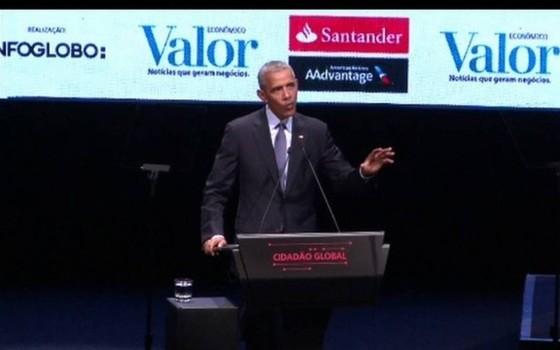 Barack Obama discursa em São Paulo e critica aumento da xenofobia (Foto: reprodução)