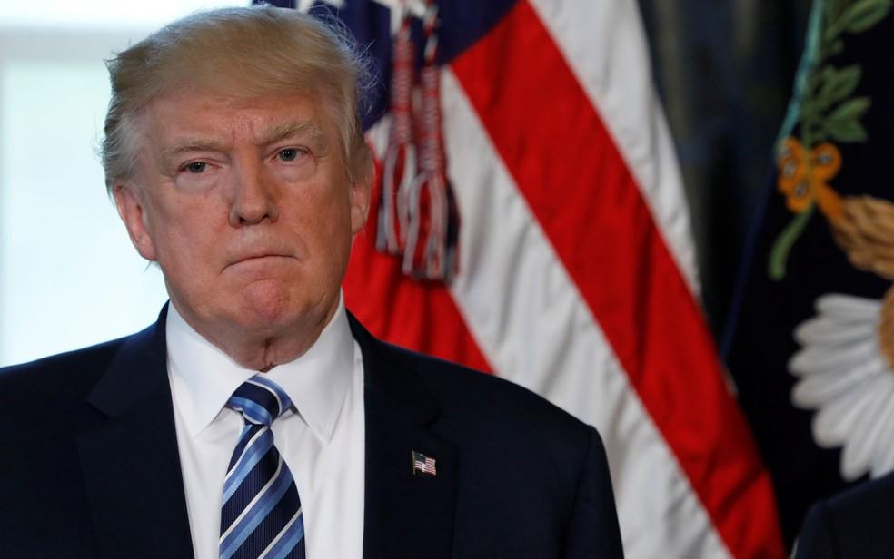 Donald Trump durante cerimônia em Washington na sexta (21) (Foto: Reuters/Aaron P. Bernstein)