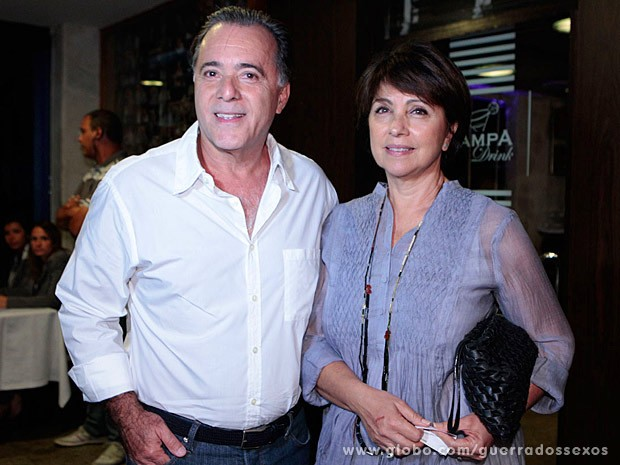 Tony Ramos e a esposa, Lidiane (Foto: Guerra dos Sexos / TV Globo)