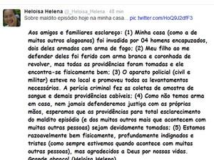 Veradora fez realto sobre violência sofrida no Tweet e no Facebook (Foto: Reprodução/ Tweet)