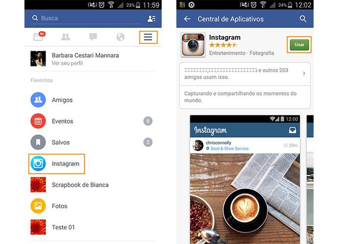 Acesse a tela do Instagram pelo app do Facebook no Android (Foto: Reprodução/Barbara Mannara)