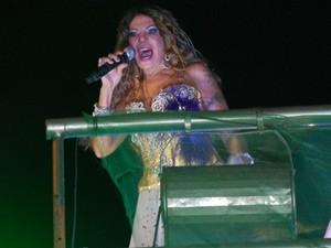 Cantando o hino das Muriçocas, Elba Ramalho animou os foliões que saíram às ruas da capital paraibana nesta 'quarta-feira de fogo' (Foto: Frederico Martins/G1)