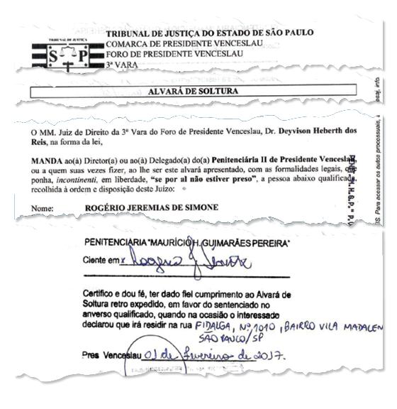 Reprodução do Alvará de soltura  (Foto: Reprodução )