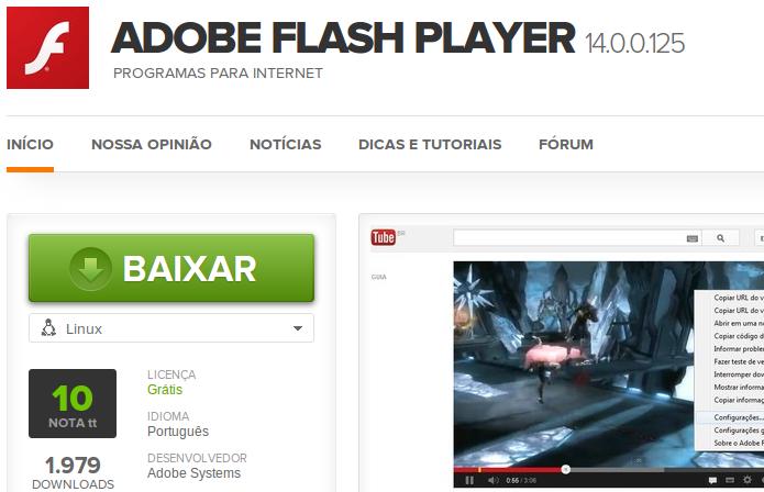 Baixando o Flash para Linux no TechTudo Downloads (Foto: Reprodução/Edivaldo Brito)
