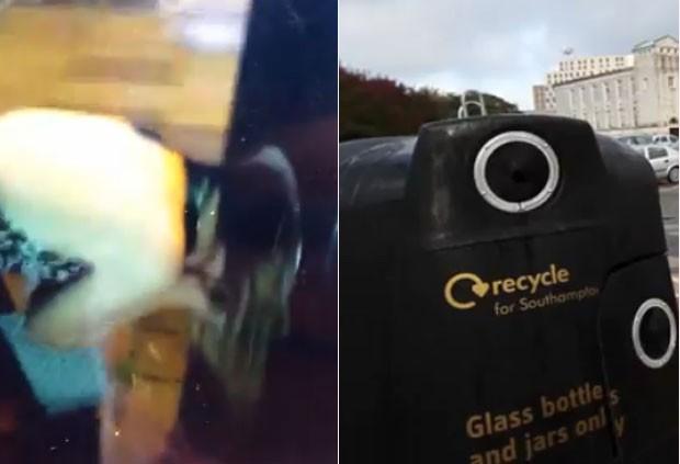 Mulher entalou a cabeça em lixeira de recolher materiais recicláveis (Foto: Reprodução/YouTube/Daily Echo)