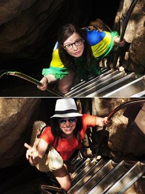 As pernambucanas Ana Gurgel e Nicole Rodrigues Fernandes toparam o desafio de descer no Sancho (Foto: Gabriel Gurgel/Acervo pessoal)
