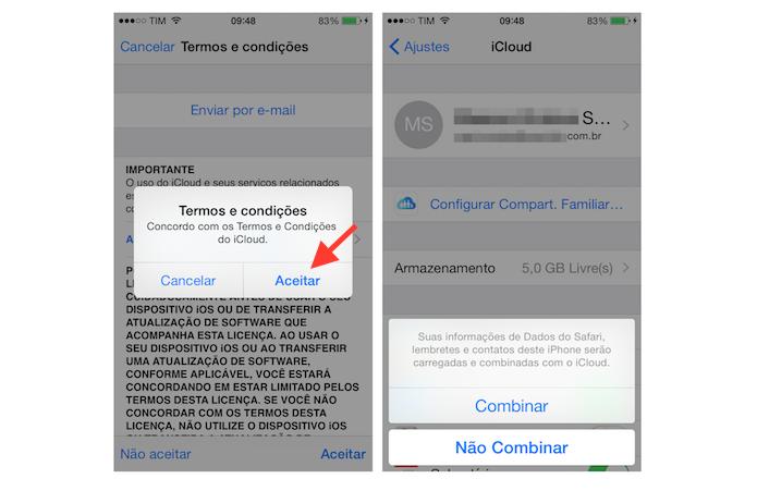 Aceitando os termos do iCloud e decidindo entre combinar ou não os dados do Safari, Lembretes e contato do iPhone (Foto: Reprodução/Marvin Costa)