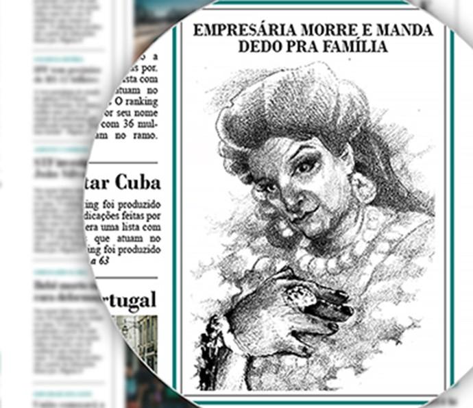 Retrato de Teodora foi publicado no jornal (Foto: TV Globo)