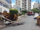 Motorista de pá carregadeira derruba poste de energia e árvore em Cuiabá