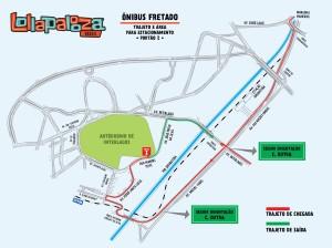 Mapa nibus Fretado Lollapalooza (Foto: Divulgao)