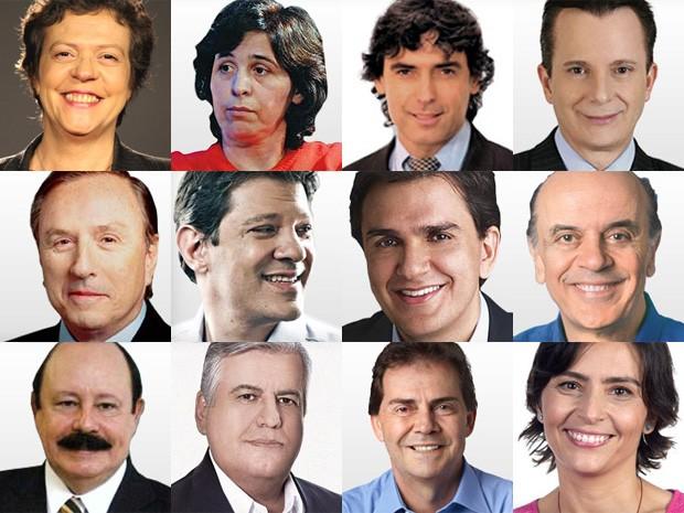 Os 12 candidatos a prefeito de São Paulo (Foto: Divulgação)