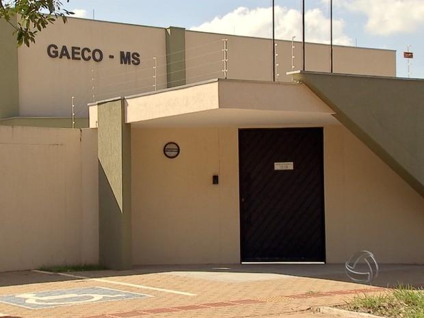 Prédio do Grupo de Atuação Especial de Repressão ao Crime Organizado (Gaeco) em MS (Foto: Reprodução/TV Morena)
