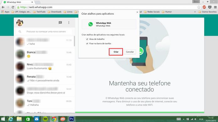 WhatsApp Web pode ser fixado na barra de tarefas do Windows ou na área de trabalho (Foto: Divulgação/Elson de Souza)