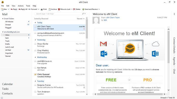 eM Client tem aspecto semelhante ao Outlook (Foto: Divulgação/eM Client)