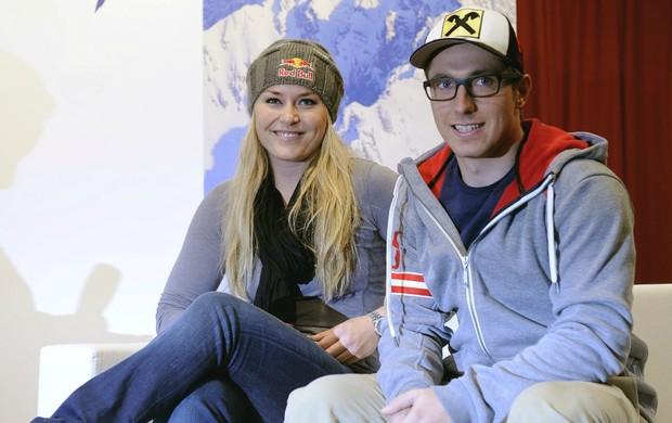 esqui alpino Lindsey Vonn e Marcel Hirscher prêmio em Söelden (Foto: AFP)