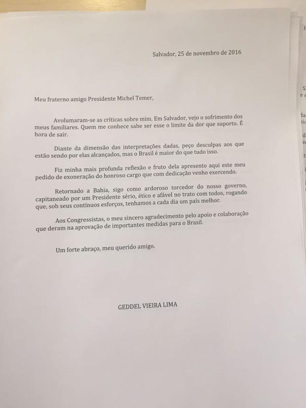 Carta de demissão de Geddel Vieira Lima ao presidente Michel Temer (Foto: Reprodução)