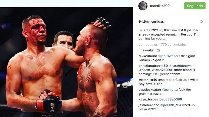 """BLOG: Nate Diaz provoca McGregor e faz alerta para irlandês: """"Descanse. Vou te pegar...."""""""