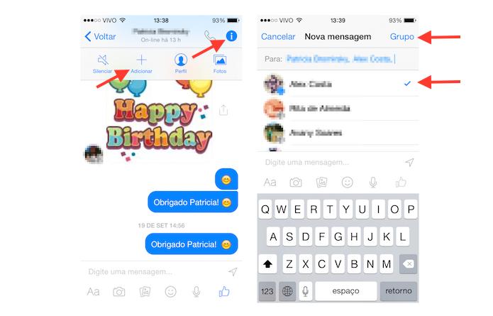 Iniciando uma conversa em grupo a partir de um chat no Facebook Messenger para iOS (Foto: Reprodução/Marvin Costa)