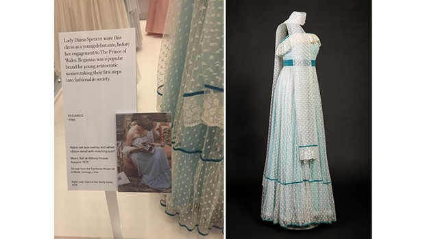 A Regamus dress worn by Diana as a debutante for a ball at her family home, Althorp House, in 1979 (see photograph, left). Currently on display at the Kensington Palace exhibition, Diana: Her Fashion Story (Foto: @SUZYMENKESVOGUE , LEFT AND HISTORIC ROYAL PALACES, RIGHT.)