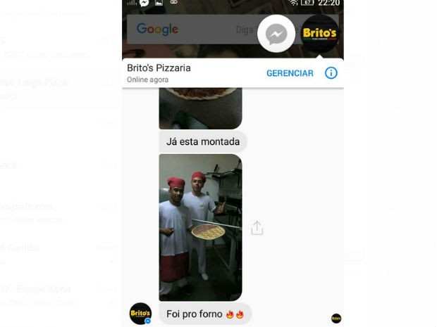 Pizzaria interagiu com o grupo e também mandou fotos da montagem da pizza  (Foto: Marllon Moura / Arquivo pessoal)