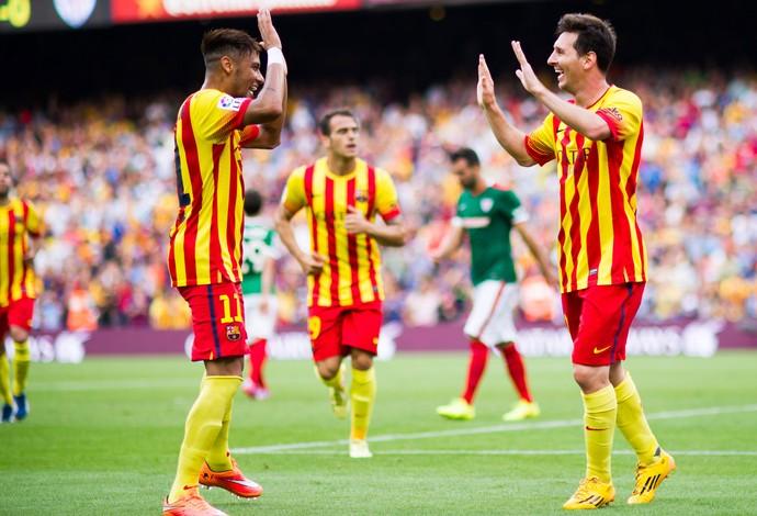 Lionel Messi Neymar barcelona gol athletic de Bilbao (Foto: Agência Getty Images)
