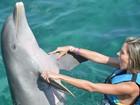 Ex-BBB Adriana posta foto brincando com golfinho em Cancún