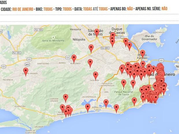 Mapa ocorrências bicicleta Rio (Foto: Reprodução/Internet)