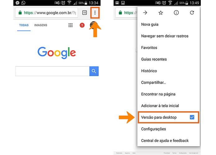 Acesse o navegador na versão desktop no celular secundário (Foto: Reprodução/Barbara Mannara)