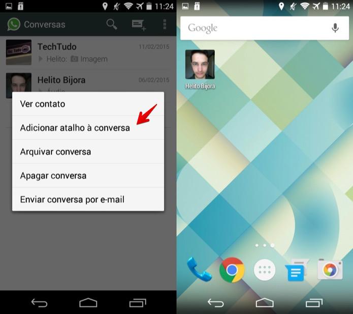 Adicionando atalho para a conversa na tela inicial do Android (Foto: Reprodução/Helito Bijora)  (Foto: Adicionando atalho para a conversa na tela inicial do Android (Foto: Reprodução/Helito Bijora) )
