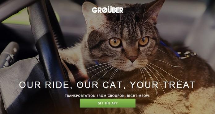 App falso Grouber permite chamar táxis dirigidos por gatos (Foto: Reprodução/Groupon) (Foto: App falso Grouber permite chamar táxis dirigidos por gatos (Foto: Reprodução/Groupon))