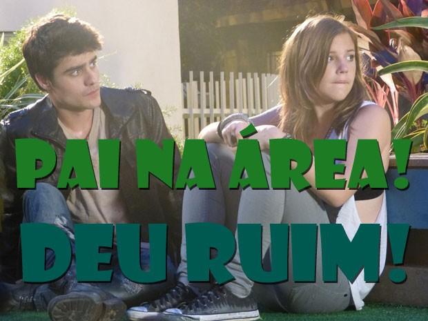KKKKK Olha a cara da Lia! Deu ruim, roqueira! Seu pai te pegou! Quem nunca, né? (Foto: Malhação / Tv Globo)