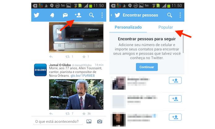 Acessando as sugestões de perfis populares do Twitter pelo Android (Foto: Reprodução/Marvin Costa)