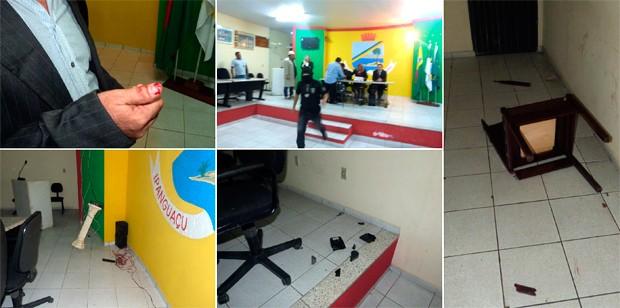 Cadeiras foram arremessadas e vereadores machucados durante sessão que elegeu a nova mesa diretora da Câmara Municipal de Ipanguaçu (Foto: Tibério Guedes/Tribuna do Vale RN)