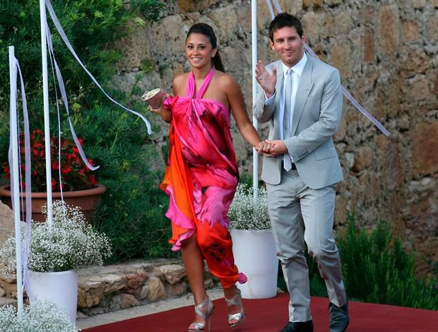messi e Antonella Roccuzzo casamento iniesta (Foto: Agência EFE)