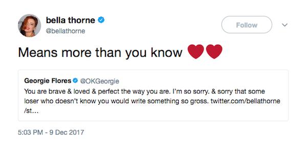 A atriz Bella Thorne agradecendo o apoio de um fã (Foto: Twitter)