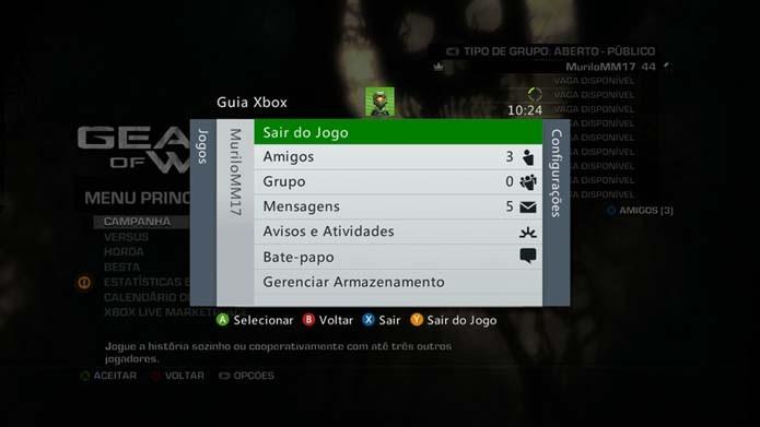 Use Start + Select para abrir o menu do 360 (Foto: Reprodução/Murilo Molina)