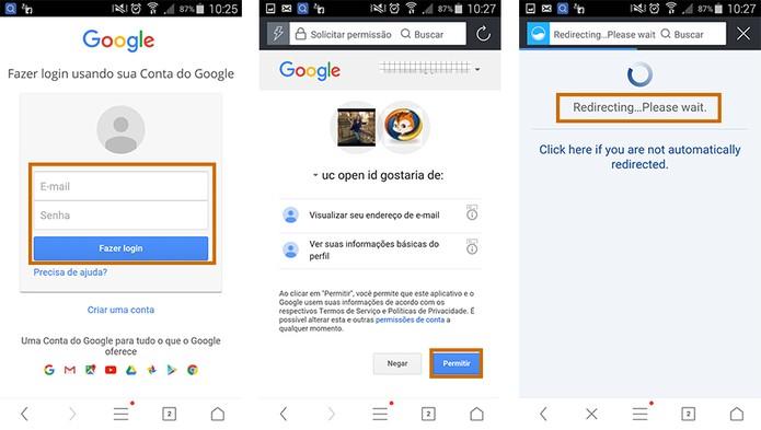 Faça o cadastro o acesse por uma conta Google ou Facebook no UC Browser (Foto: Reprodução/Barbara Mannara)